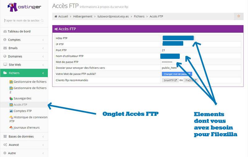 Utiliser acces ftp de hostinger