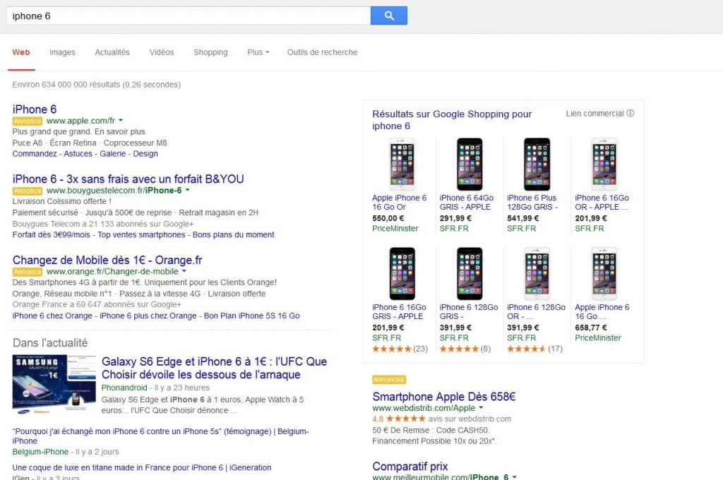 Google Shopping sur Iphone 6