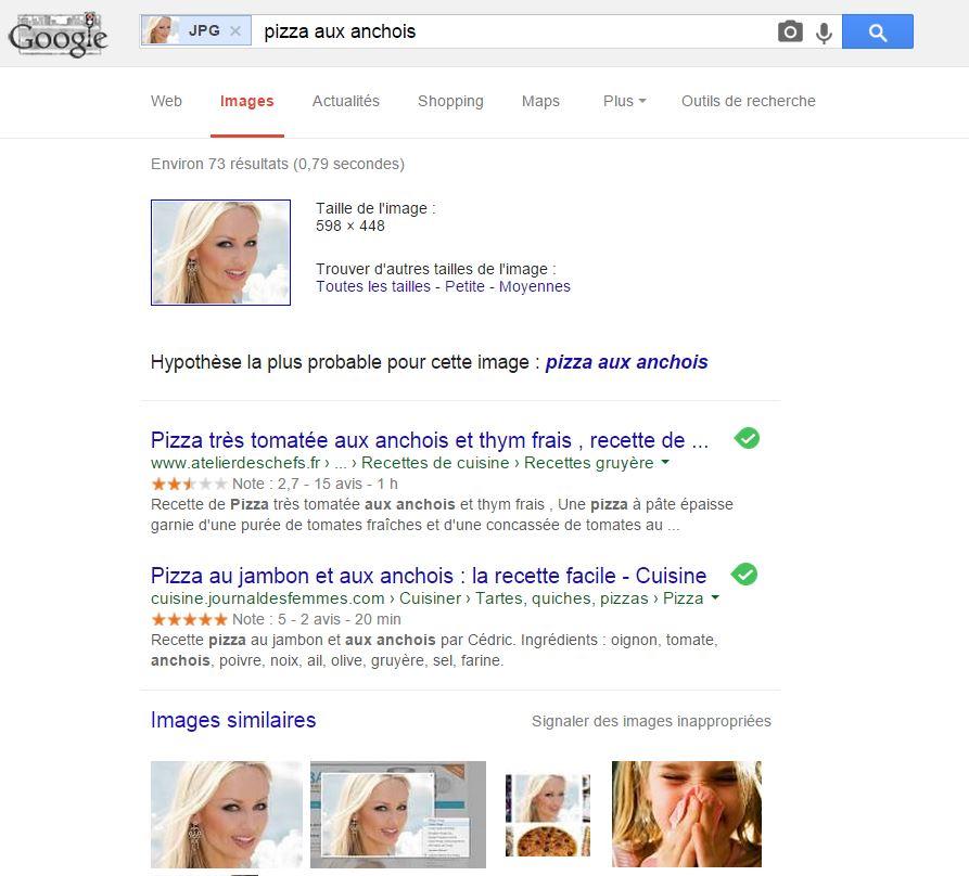 La pizza aux anchois selon Google