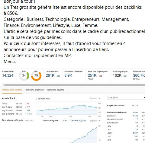 post facebook groupe seo